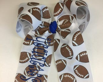 Any Name & Colors, Hair Bow, Football Glitter, Monogram Bows, Embroidered Sports, Cheer Custom, Boutique Ribbon, Large Personalized, Clips