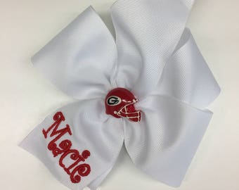Georgia Hair Bow, Any Name, Personalized Bows, Bulldogs Helmet, Hairbow, Football Large, Sports Fan, College UGA, Girls Embroidered Game Day