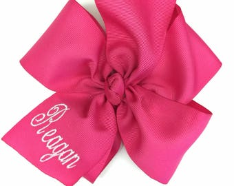Any Name, Embroidered Pink, Bow Hair, Large Size, Custom Boutique, Monogram Girls, Monogrammed Gifts, Personalized Clips, Big Pink, Barrette