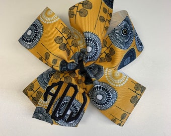 2453f19275eb Yellow Floral, Hair Bow, Custom Monogram, Embroidered Kids, Large Size,  Monogrammed initials, Gold RIbbons, Japaneese, Matilda Jane