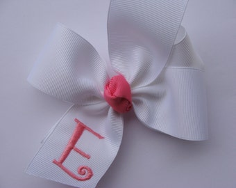 White Initial, Monogram Hairbow, Boutique Gift, Monogrammed Letter, Personalized Girls, Customized Baby, Unique Idea, 4 inch, Girls Clips,