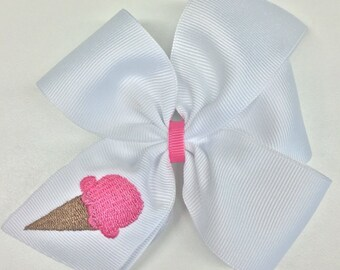 Ice Cream, Hair Bows, Embroidered Girls, Boutique Monogram, Custom Monogrammed, Medium Summer, Hairbow Clip, Ribbon Thread, White Bows, Gift