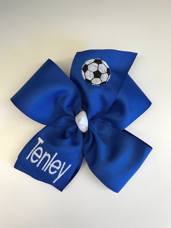 Personalized Large Soccer Hair Bow  Free Shipping