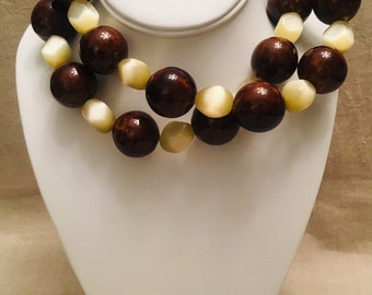 Brown-Glazed Ceramic and Yellow Cat's Eye Glass Long Necklace