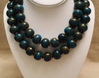 Turquoise-Glazed Ceramic Bead Long Necklace
