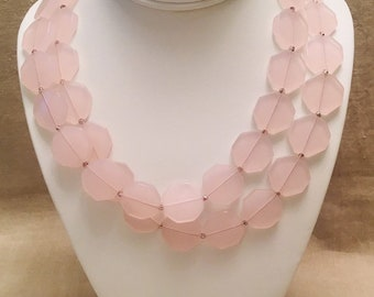 Pink Glass Long Necklace