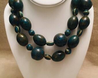 Turquoise-Glazed Ceramic Mixed-Shape Long Necklace