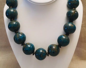 Turquoise-Glazed Ceramic Bead and Brass Necklace
