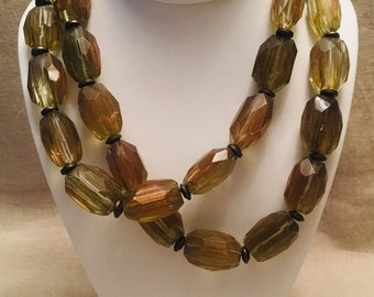 Rutilated Glass and Brass Long Necklace