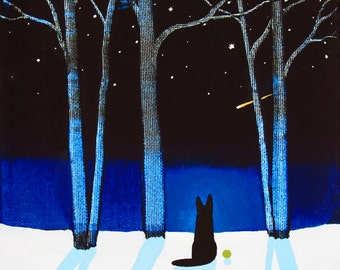 Black German Shepherd Dog art Print of Todd Young painting CLEAR STARRY NIGHT