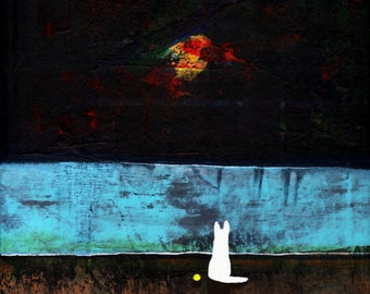 White German Shepherd Dog Abstract Folk Art PRINT of Todd Young painting MOONLIGHT