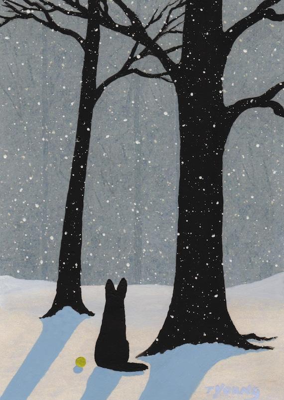Black German Shepherd Dog Art Print Of Todd Young Falling Snow Etsy