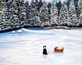 The Way Home Border Collie Sheep print by Todd Young