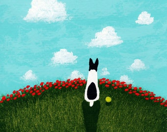 Rat Terrier Dog LARGE Folk Art Print by Todd Young painting Red Poppies