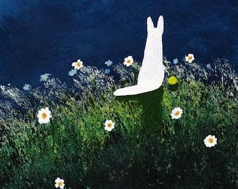White German Shepherd Dog Large folk art PRINT of Todd Young painting NIGHT WIND