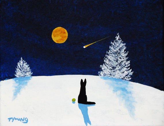 Black German Shepherd Dog WINTER Art PRINT Todd Young painting FALLING SNOW