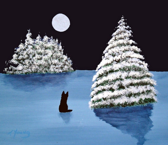 Winter Moon Print Black German Shepherd Dog By Todd Young Etsy