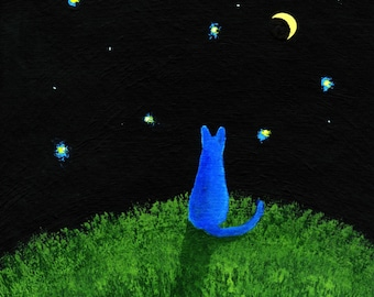 Russian Blue Cat MOON and STARS Folk art print by Todd Young painting