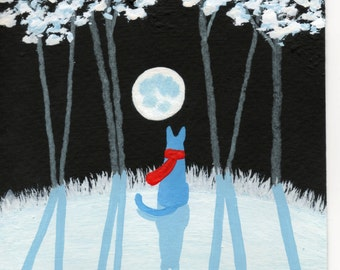 Russian Blue Cat Folk art print by Todd Young painting SNOWY FOREST