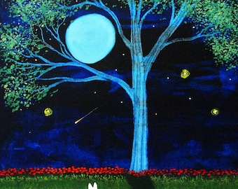 White German Shepherd Dog Moon Folk art PRINT of Todd Young painting Shooting Star