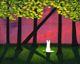 White German Shepherd Dog LARGE folk art PRINT of Todd Young painting Sunset Light