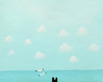 Black German Shepherd Dog Ocean art Print of Todd Young painting AT THE BEACH