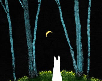 White German Shepherd Dog art PRINT Blue Trees of Todd Young painting