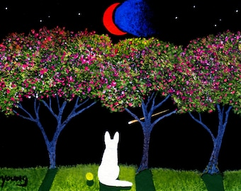 White German Shepherd Dog Outsider LARGE Folk Art Print of Todd Young CHERRY BLOSSOMS