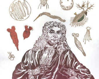 Antonie van Leeuwenhoek Portrait with his Microscope and Animacules Lino Block Print History of Science Microbiology