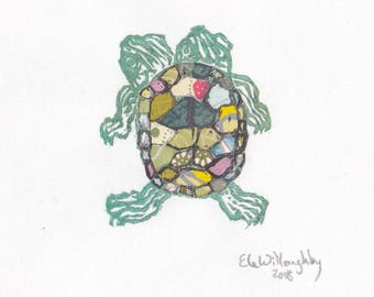 Tiny Two-Headed Turtle Linocut Print on Beautiful Japanese Washi Papers - Turtle with Polycephaly Mini Print