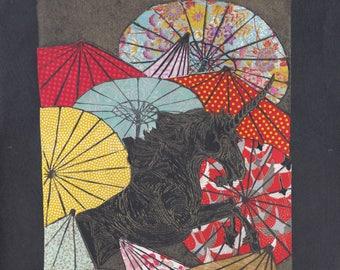 Unicorn Amongst Umbrellas XXXIV- Multimedia - Lino Block Print Unicorn with Collaged Japanese Papers & Ephemera Parasols on Black Washi
