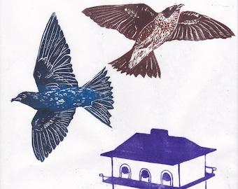 Lino Block Print Purple Martins and Purple Martin Birdhouse