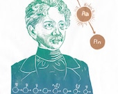 Linocut portrait of pioneering nuclear physicist Harriet Brooks, woman in STEM collection, history of science print