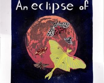 An Eclipse of Moths Lino Block Print of a Group of Moths an Moon at Lunar Eclipse