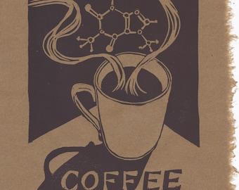 Mmm... Coffee Lino Block Print with Caffeine Molecule