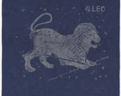 Leo Constellation Linocut - Constellations of the Zodiac Print Collection - Leo the Lion Print