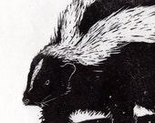 Skunk Marching Through Snow Linocut - Black and White Print - Winter Scene