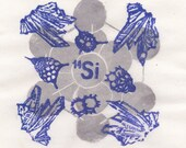 Silicon Print with Crystal, Quartz and Radiolarians, Periodic Table Lino Block Print Chemical Element Silicon