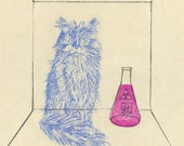 Schroedinger's (Disappearing) Cat Linocut