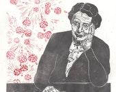 Lise Meitner and Nuclear Fission Print, History of Physics, Lino Block Print, Women in STEM