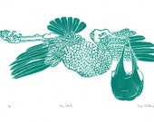 The Stork Deliverying Baby Linocut, Nursery Art, Stork with Baby Lino Block Print, Baby Shower Gift