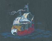 Sailing Ship IV - Block Print with Mixed Papers