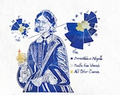 Florence Nightingale Linocut in Blue, Handprinted Portrait of Nursing and Statistics Pioneer Woman in Science Florence Nightingale