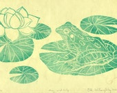 Frog and Lily Linocut - Handmade Print - Leopard Frog with Water Lily Lotus Flower in Green