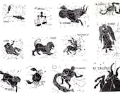 Complete set of 12 Constellations of the Zodiac linocut prints - colour or black and white