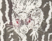 Legendary White Squirrel Linocut - Handprinted Toronto White Squirrel of Trinity Bellwoods Park Print