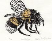 Bumblebee Linocut - Lino Block Illustration of European Bumblebee, Bee Biodiversity Print Collection, Bombus Terrestris, Insects Pollination