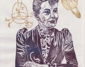 Mathematician Sofia Kovalevski Print, History of Science, Math & Literature, Women in STEM, Lino Block Portrait