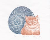 Linocut of the Snailcat, an imaginary composite creature, hybrid cat snail handprinted block print
