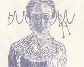 Astronomer Henrietta Swan Leavitt Linocut -1st Edition Lino Block Print Portrait, Woman in STEM, Astronomy, History, Henrietta Swan Leavitt